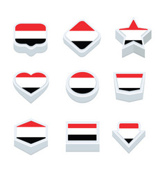 Yemen flags icons and button set nine styles vector