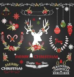 Chalkboard merry christmas flowers deer vector