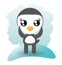 cute penguin animal wildlife vector image