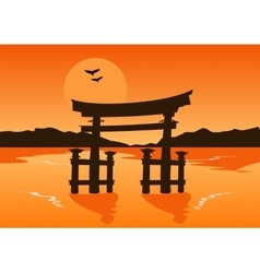 Japanese temple gate silhouette on lake at sunset vector image