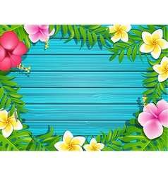 Summer frame on wood background vector