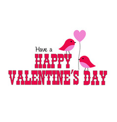 Valentines day graphic with cute birds vector
