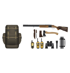 a set of realistic hunting equipment kit vector image