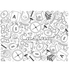 casino line art design vector image vector image