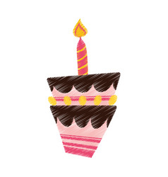 Drawing birthday cake candle vector