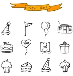 New Year icons hand draw collection vector image