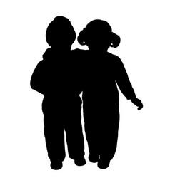 brother and sister hug vector image