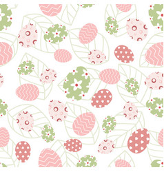 easter pattern with eggs and leaves vector image vector image