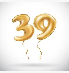 golden number 39 thirty nine metallic balloon vector image