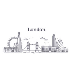 london city skyline with famous buildings tourism vector image