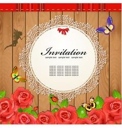 Retro Rose Invitation Card vector image vector image