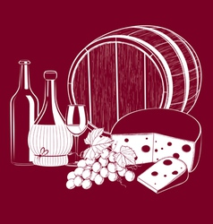 Wine Cheese vector image vector image