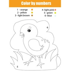 Coloring page with chicken Color by numbers vector image vector image