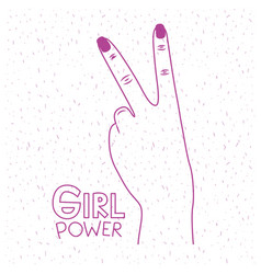 girl power poster text and hand making victory vector image