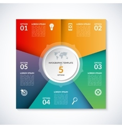 infographic square template with 5 options vector image