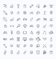 outline web icon set - sport and fitness vector image