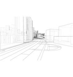 3d urban landscape buildings and roads vector