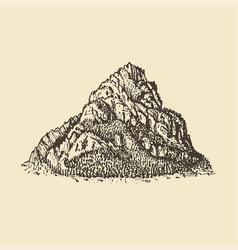 a mountain view hand drawn in vector image