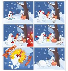 Adventures of Snowman with firework Cartoons vector image