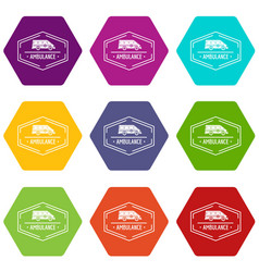 ambulance newborn icons set 9 vector image