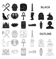 Ancient egypt black icons in set collection vector