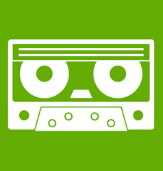 audio cassette tape icon green vector image