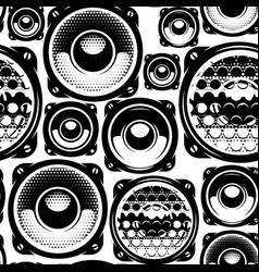 Background with speakers seamless pattern for vector