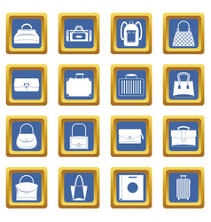 Bag baggage suitcase icons set blue vector