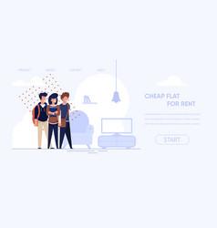banner is written cheap flat for rent cartoon vector image