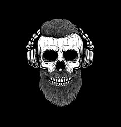bearded skull in headphones design element vector image