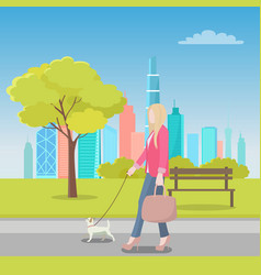 blonde woman walking with dog in city park vector image