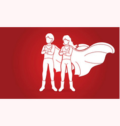 Boy and girl playing super heroes action cartoon vector