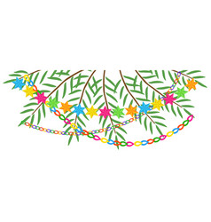 Branches of date palm and garlands for sukkot vector