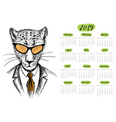 Calendar 2019 with funny hipster cheetah hand vector