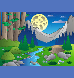 Cartoon forest landscape 3 vector