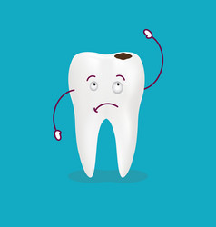 cartoon sick tooth decay and destroy tooth cute vector image