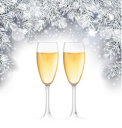 Champagne glass christmas background with silver vector