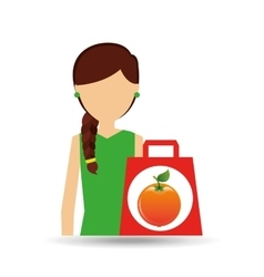 Character shopper orange fruit vector