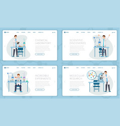 chemical laboratory landing pages set vector image