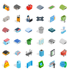 City icons set isometric style vector