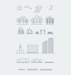 city landscape design elements linear vector image