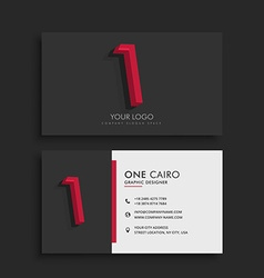 Clean dark business card with number 1 vector