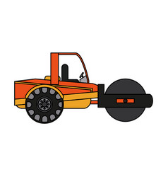 Color image cartoon road roller machine vector