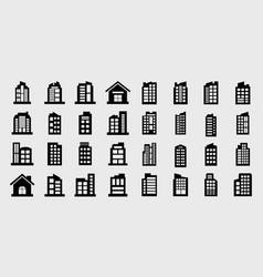 company icons building set vector image