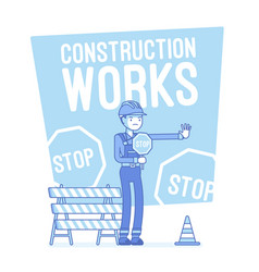 Construction works stop lineart concept vector