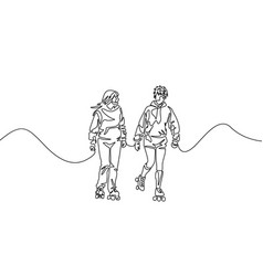 Continuous one line friends rollerblading two vector