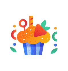 cupcake decorated with strawberry sweet delicious vector image