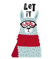 Cute cartoon llama in ski glasses childish alpaka vector