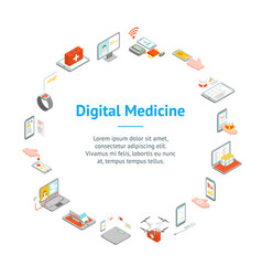 digital medicine 3d banner card circle isometric vector image