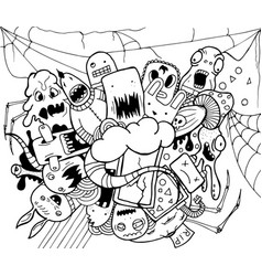 doodle monsters hand drawn vector image